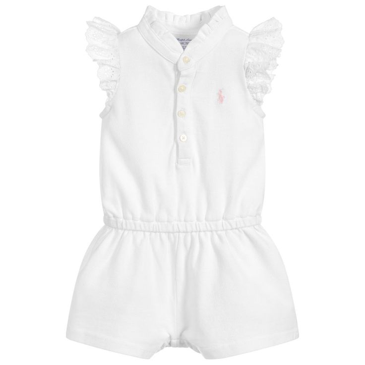 Girls soft cotton piqué white playsuit, by Ralph Lauren. With cute broderie Anglaise ruffled cap sleeves, a frilled collar, front button fasteningand the designer's pink pony logo embroidered on the chest. It has a comfortable drawstring waist and the shorts have poppers that fasten between the legs for easy dressing and changing.