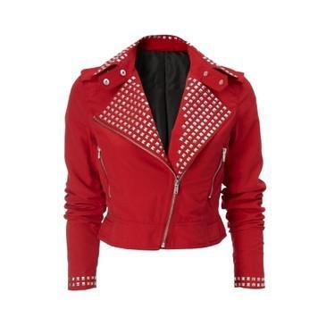 Red Studded Rock Chic Biker Jacket