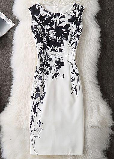 Sleeveless Back Slit Round Neck Printed Sheath Dress on sale only US$27.79 now, buy cheap Sleeveless Back Slit Round Neck Printed Sheath Dress at liligal.com