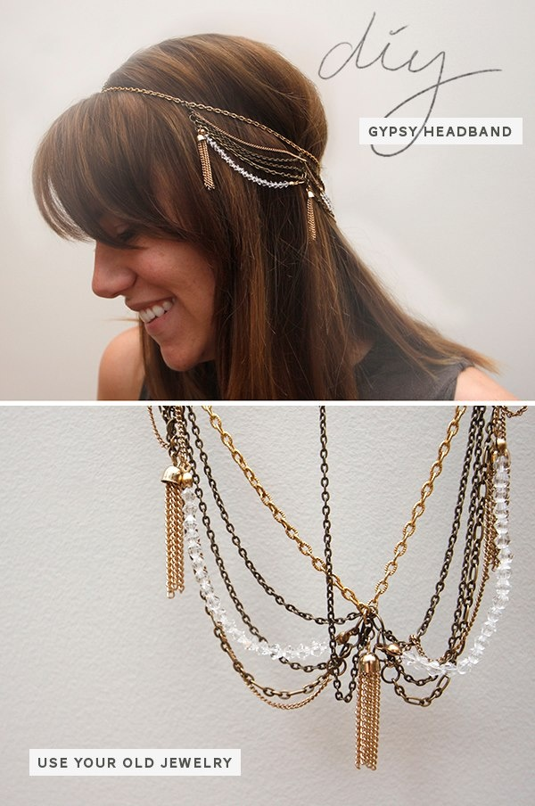 Get your gypsy on with this hair accessory crafted from unwanted junk jewelry.