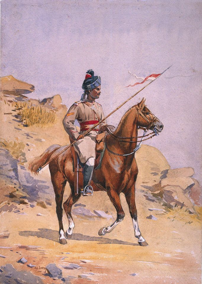 Lance Dafadar Gakkar (Punjabi Musalman), 38th Prince of Wales's Own Central India Horse, 1908 (c). Watercolour by Major Alfred Crowdy Lovett (1862-1919), 1908 (c). The 'classes' (ethnic groups) usually recruited into the Central India Horse were Sikhs (two squadrons), Pathans (one squadron) and 'Musalman' (Muslim) Rajputs (one squadron), so the presence of a Gakhar is unusual. In July 1908 the regiment was stationed at Agar. NAM Collection