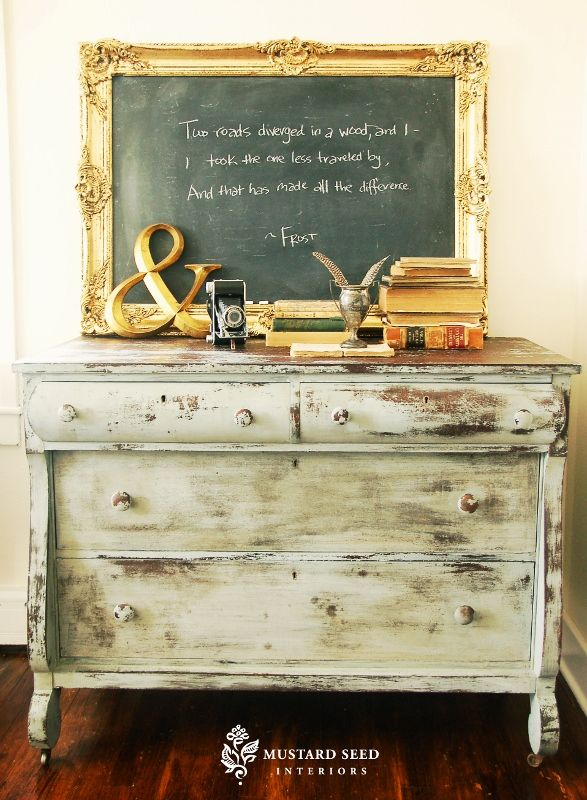 distressed drawer: Chalkboards, Idea, Milk Paint, Dresser, Quote, Chalk Board, Miss Mustard Seeds