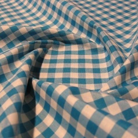 Klassiskt rutigt tyg - Aqua/cyan blå och vit - 150 cm