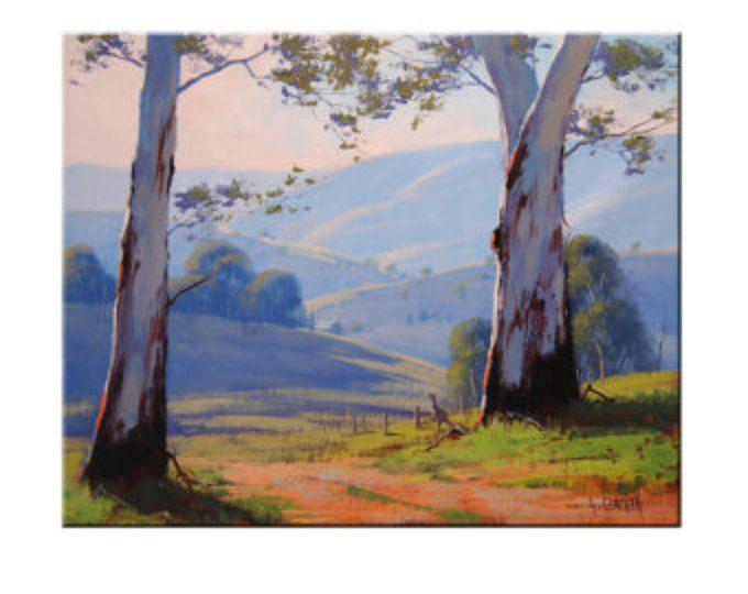 Arte australiano de goma árboles pintura paisaje de árbol canguro por G.Gercken