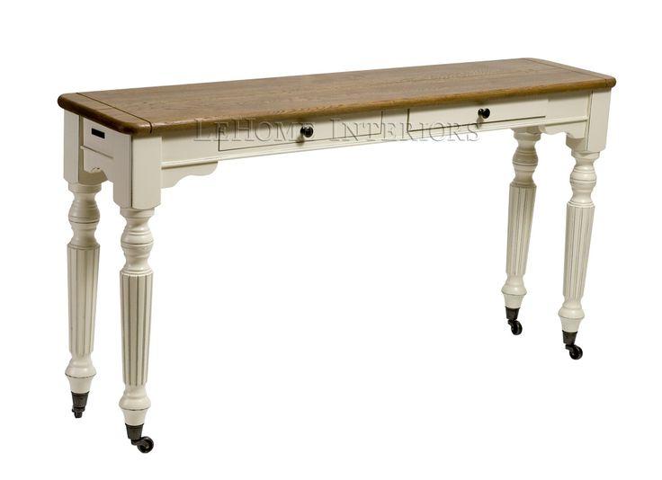 Консоль Keywest Console Table. Классическая консоль, выполненная  по мотивам  тенденций в дизайне Франции 19 века. Ножки в виде балясин с колесиками, для легкого перемещения в пространстве. 2 узких  ящичка для хранения мелочей  с механизмом для плавного открывания.