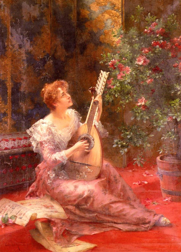 ♪ The Musical Arts ♪ music musician paintings - Conrad Kiesel | The Lute Player - Pinterest