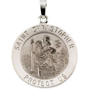 St Christopher round solid 14 karat white gold medal. The words SAINT CHRISTOPHER PROTECT US encompasses the front of this beautiful pendant medallion.  MM: 20.00  Inches: 0.78