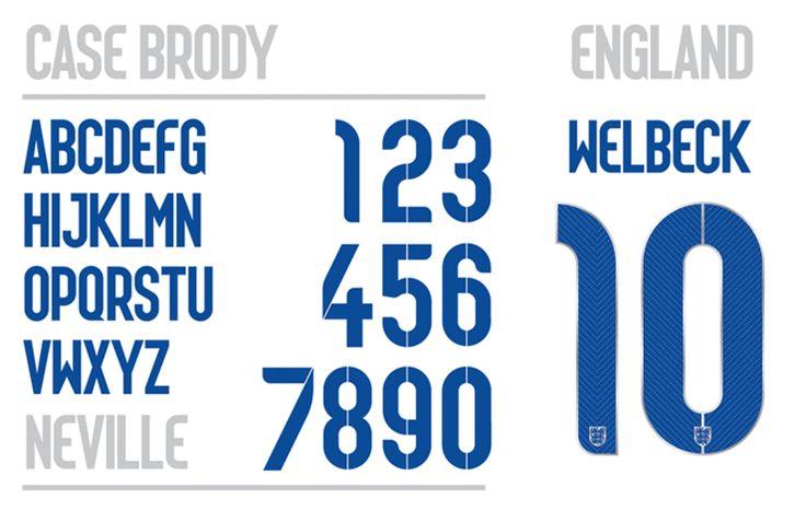 英国主场球衣上字体case brody颜色。'我很荣幸能够为英国国家队设计字体。我的主要灵感来自于天赋和努力工作,强调创新,发明和惊喜感,创建更多的几何结构。模板的设计是基于细条纹图案,并结合了装饰性的风格。'—neville brody(原图尺寸:740x469px)