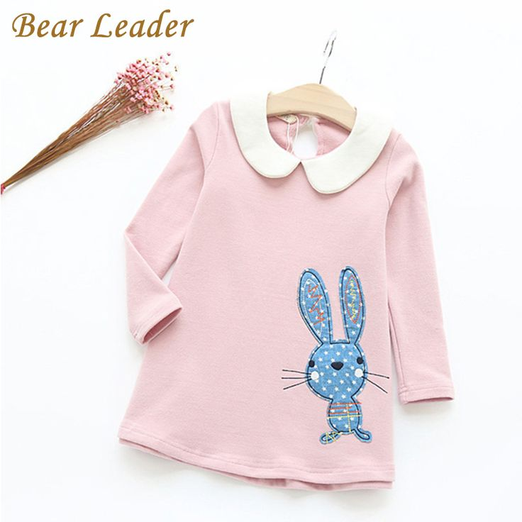 Bear Leader Autumn Long Sleeve Girls Dress New Casual Style Girls Clothes Cartoon Rabbit Embroidery Dress for Kids Clothes