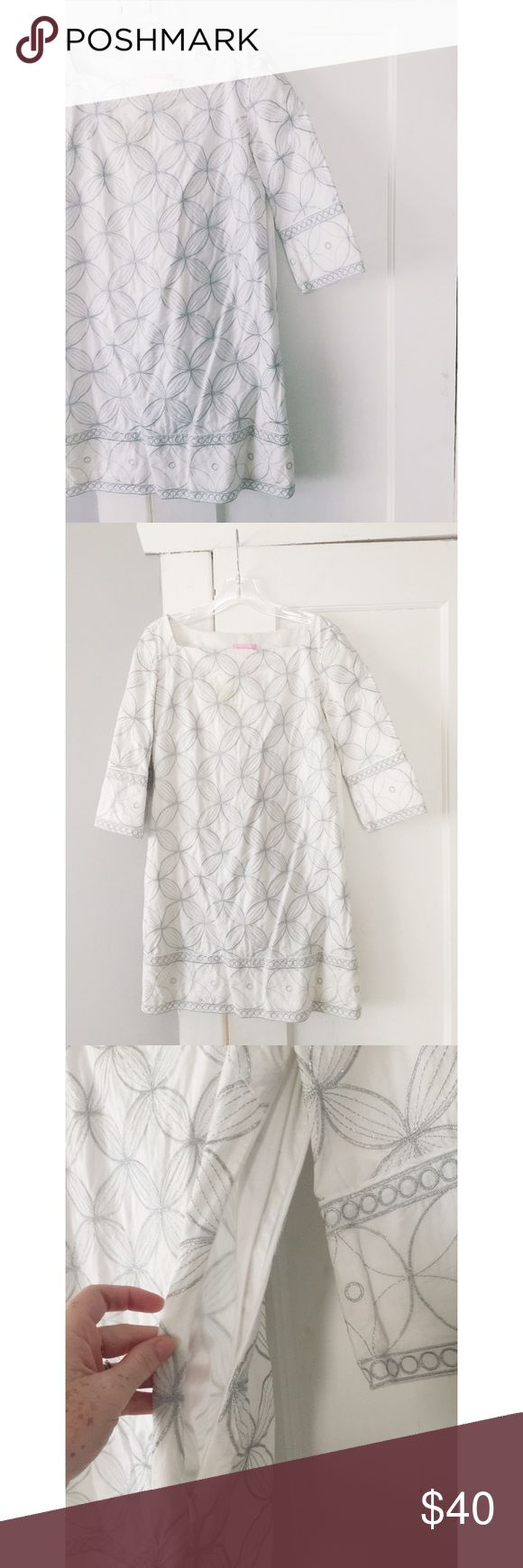 Lilly Pulitzer Embroidered Dress Lilly Pulitzer Embroidered Dress.  White with silver embroidery throughout.  Women's size 4.  Size zipper fully working.  Some discoloration on the inside of the neckline (as seen in photo) good condition overall. Lilly Pulitzer Dresses