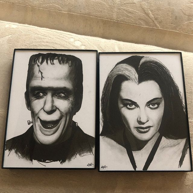 Original 8x10 SET Frankenstein /& Bride Acrylic Painting