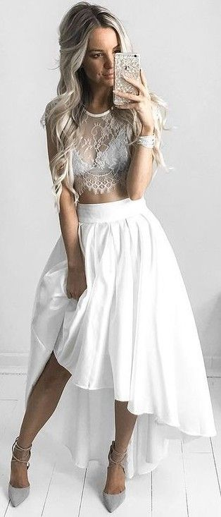 #summer #kirstyfleming #outfits | White Lace Crop + White Maxi Skirt