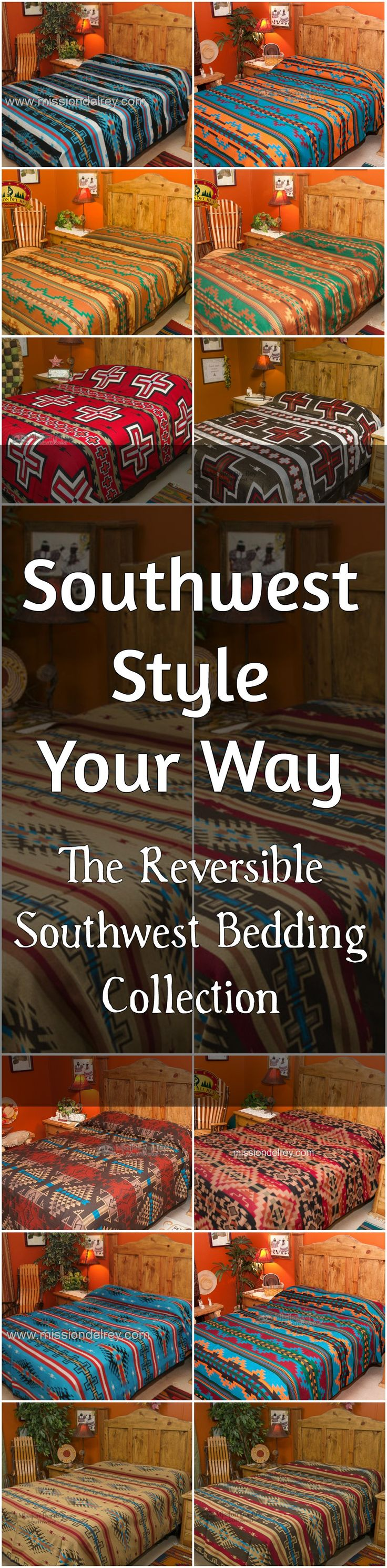 If you are looking to update your decor with the beautiful designs and colors of the southwest, check out our reversible, southwest bedding collection. Instantly change the look of any room, and give your home designer style with one of our beautiful, reversible bedspreads.  Our southwest bedspreads come in king, queen and twin size, and are the perfect accent piece for southwestern decor.  See more at http://www.missiondelrey.com/southwestern-bedspreads/