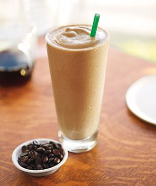 Coffee Frappuccino Protein Shake! -- 1 packet of Starbucks Via instant coffee, 1 scoop of vanilla or chocolate protein powder , 8oz vanilla almond milk, 8-9 ice cubes. Blend.