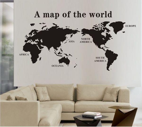 korting 0827 wereldkaart muurstickers sticker wereldkaarten muurschildering kunst home decor gratis verzending -voor de logeerkamer-