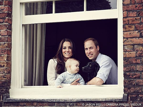 Oh my word! This is too cute! Here is a brand new photo released by the Duke and Duchess of Cambridge with baby George in his mom's arms and dog Lupo in his dad's. March 2014. Click for full article. | People.com