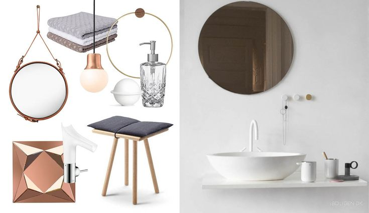 Back to nature: Freshen up your bathroom with bronze and wood materials.