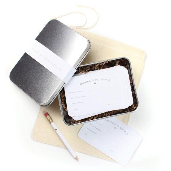 """Nieuw! 24 """"Wenst voor het paar"""" kaarten met aandenken Tin in mousseline zak / / bruids douche spel, bruids douche activiteit, bruids douche Gift"""