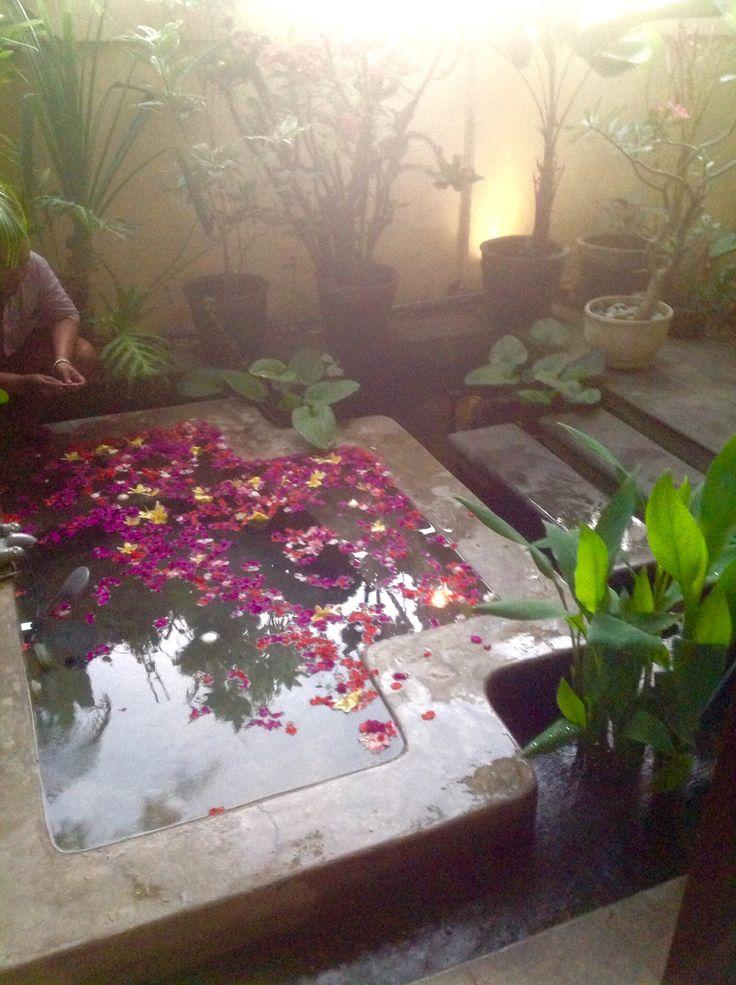 Bali house. Balinese decor. Spa, petals. Balinese garden.