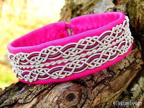 Viking Sami Bracelet RAVEN Custom Handmade in Cerise Reindeer Leather with Pewter and Magenta leather cord braids - Nordic Tribal Jewelry by Tjekijas Design.