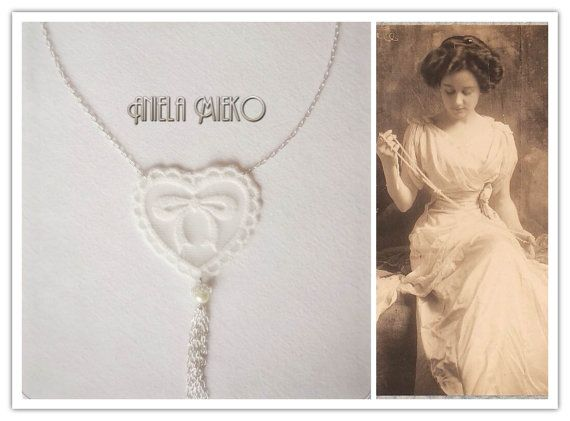 Lace heart necklace  Necklace with lace necklace by AnielaMieko  SAVE 10% discount on my shop; Etsy Code: PINTEREST16. #Lacenecklace #necklace #Lacependantnecklace #giftforher #statementnecklace #weddingjewelry #romanticnecklace #AnielaMieko #mtldesigner #vintageinspiredjewelry