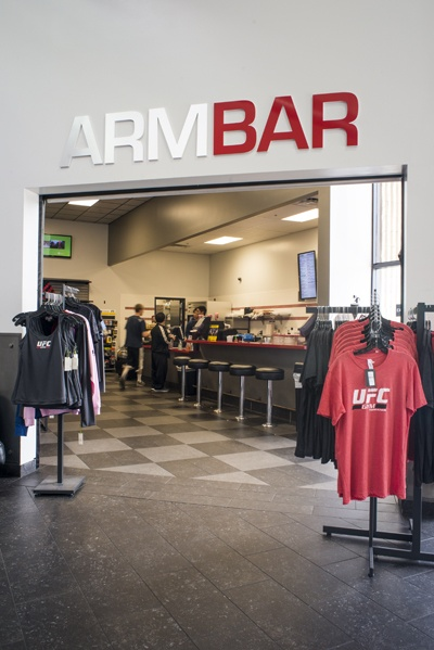 UFC Gym Torrance's cafe and pro shop.    Photography by Samson Hatae Photography.
