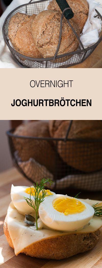 Rezept für gesunde Joghurtbrötchen mit Vollkorn und Übernachtgare