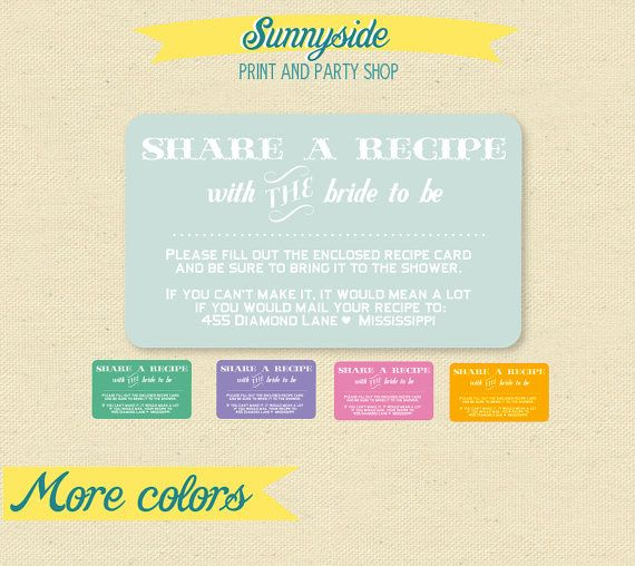 Bring a Recipe Enclosure Card for Bridal Shower Invites - Printable on Etsy, $5.00