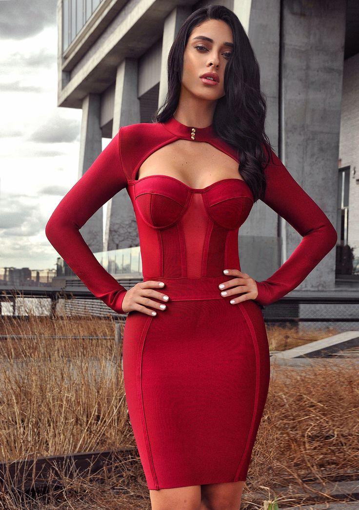 Melrose High Neck Bustier Long Sleeve Bandage Dress