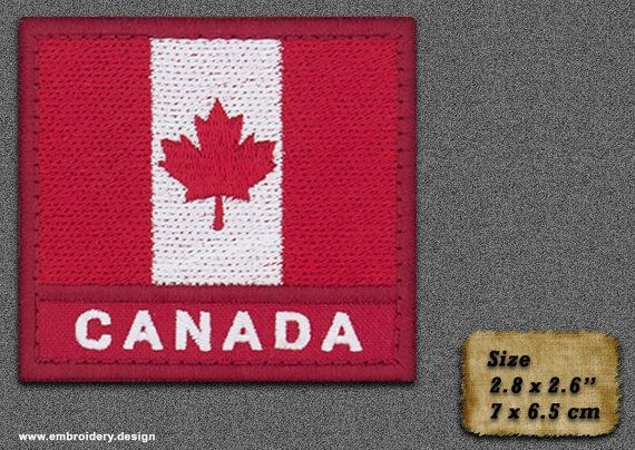 5 QTY Patch Flag of Canada with a title and red by EmbroSoft