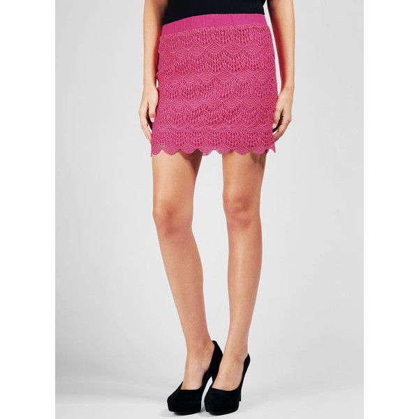 Ella Moss Scallop Mini Skirt ($178) ❤ liked on Polyvore featuring skirts, mini skirts, pink lace skirt, short lace skirt, scallop hem mini skirt, scallop hem skirt and short mini skirts