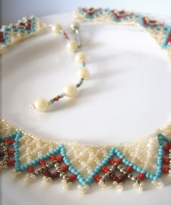 Vintage 60s-70s Native American collar necklace - This is an exquisite work of art that's been delicately hand beaded from glass beads in hues of
