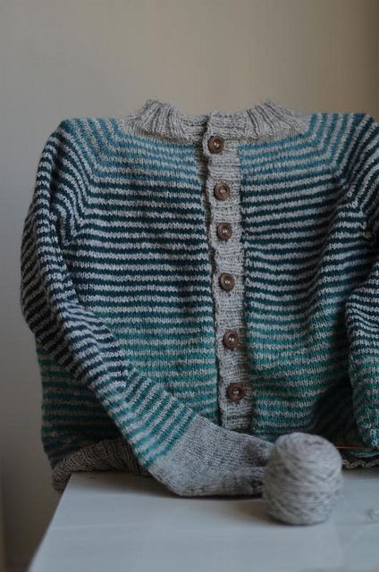 Stripey Cardigan, almost finished by osloann, via Flickr. Yarn   Kauni Wool 8/2 Effektgarn