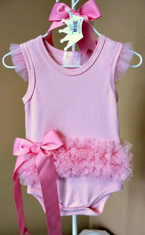 Mud Pie Girls Pink Ballerina Crawler Onesie with Pink Tulle Ruffles and Bow $26.99