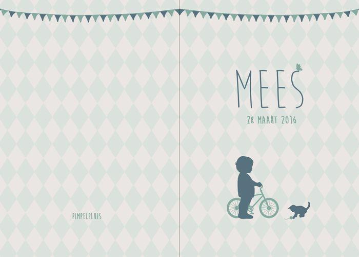 Geboortekaartje Mees - voorkant en achterkant - Pimpelpluis - https://www.facebook.com/pages/Pimpelpluis/188675421305550?ref=hl (# jongen - fiets - poes - kat - vlagjes - silhouet - lief -  origineel)
