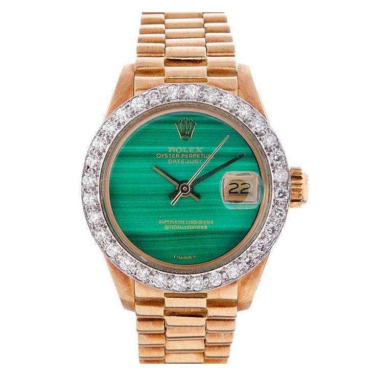Rolex Lady S Yellow Gold Malachite Dial Diamond Bezel