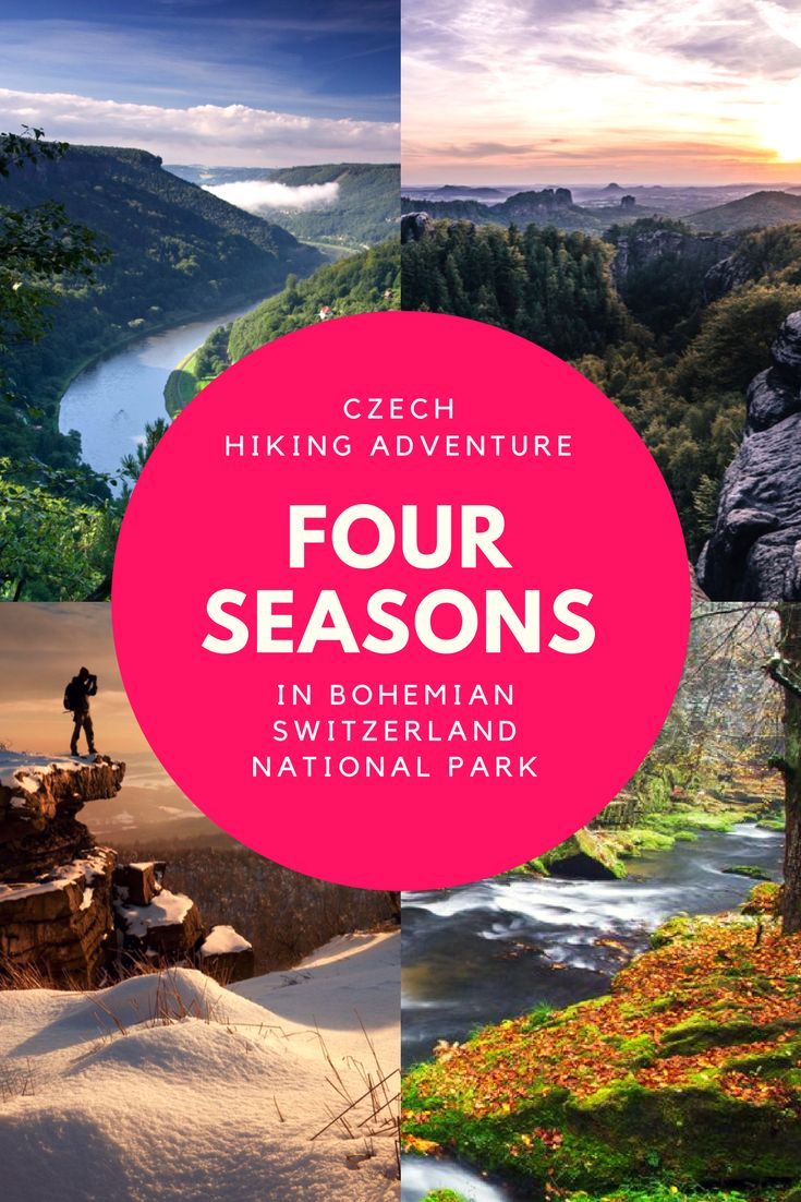 Seasons of Bohemian Switzerland National Park in the Czech Republic, just 2 hours from Prague: It's hard to say what the most epic season of to be found in Bohemian Switzerland would be. Colorful autumns and stunningly white winters to bright springs and lively summers - we aren't sure there is a wrong time to visit. Bohemian Switzerland national parkis something to be experienced, easily one of the best day trips from Prague. Click here to read more.