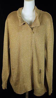 Michael Kors Gold Metallic Zip Up Cardigan Sweater Womens Plus Size 3X
