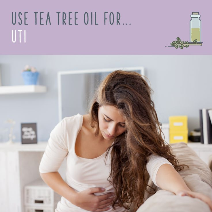 Tea Tree Oil For UTI  Add five drops of tea tree water to a shallow bath. Add a pinch of baking soda, and wash out your bits. Don't get too splash-happy: a gentle wash will do the trick. Tea tree oil's antibacterial properties should clear it up in a few days.