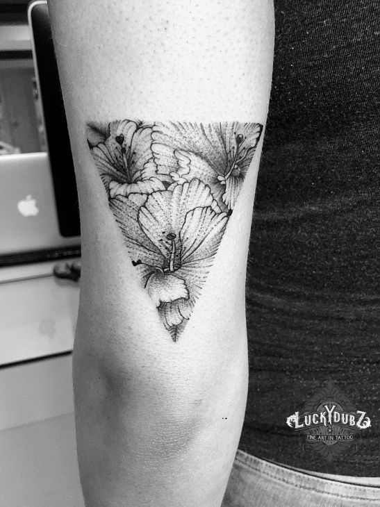 Triangle Hibiscus flower tattoo for Bianca.