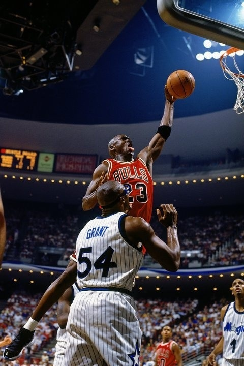 Michael Jordan Dunks Chicago Bulls Orlando Magic Horace Grant Anfernee Hardaway B.J. Armstrong