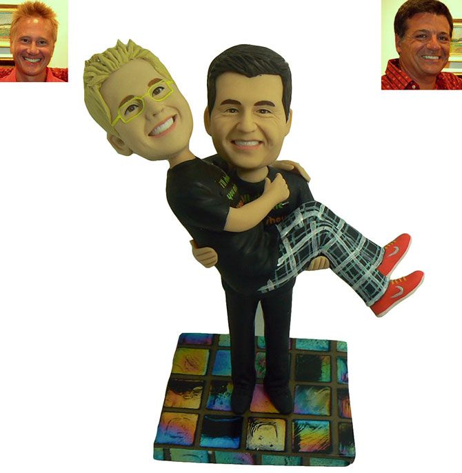gay wedding cake topper created from submitted photos by my memory dolls lgbt custom wedding cake
