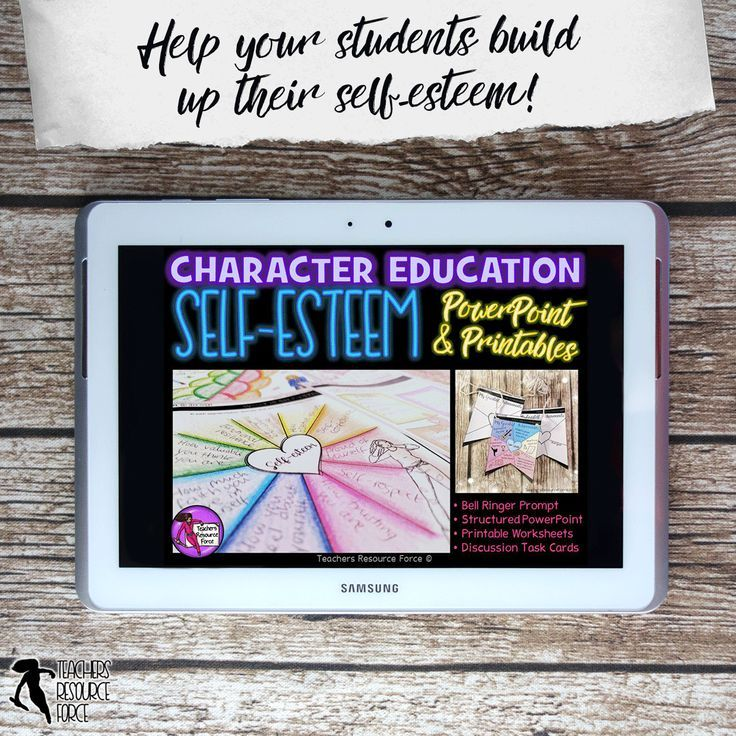 Self-Esteem Lesson: Character Education (PowerPoint, Task Cards & Printables) @resourceforce