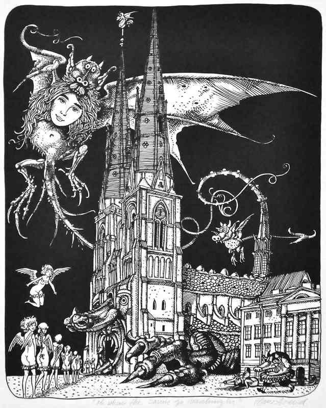 Uppsala Cathedral by Hans Arnold. Uppsala Domkyrka av Hans Arnold. Jag har den som vykort signerad av Hans