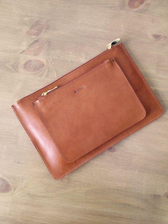 Light Brown Medium Clutch Leather purse ipad mini by MISOUI