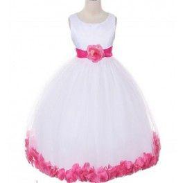 Bruidsmeisjes jurkje White with pink Flowers