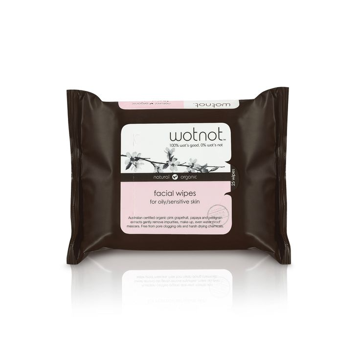 Wotnot Facial Wipes For Oily/Sensitive Skin 25 pk