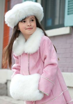 Girls White Mink Faux Fur Muff & Tam-Style Hat Set