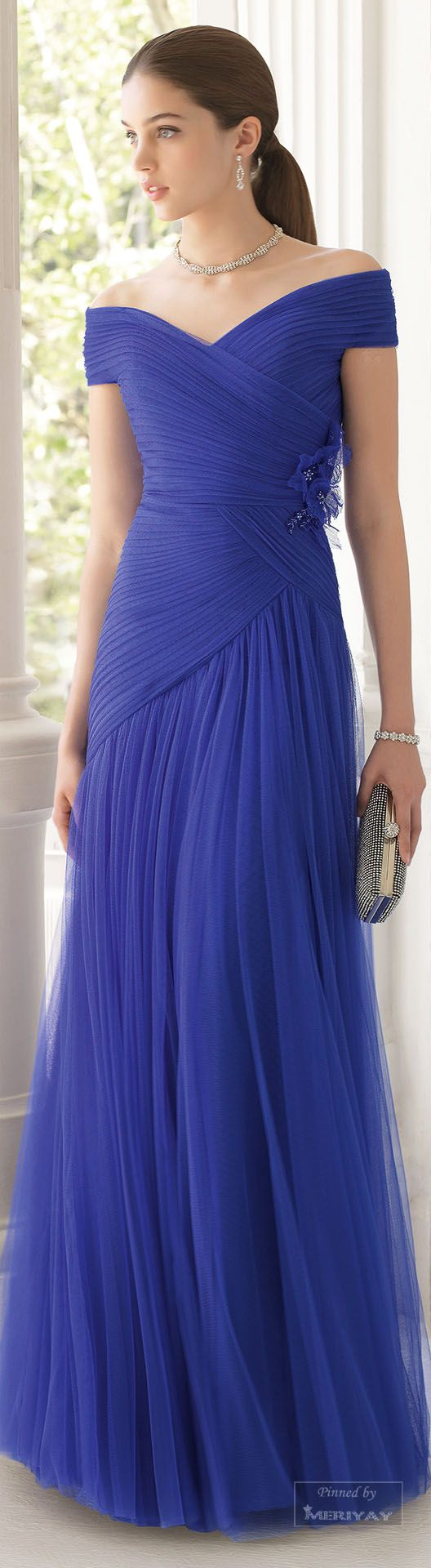 Aire Barcelona ~ Off the Shoulder Violet Pleated Chiffon Gown 2015.