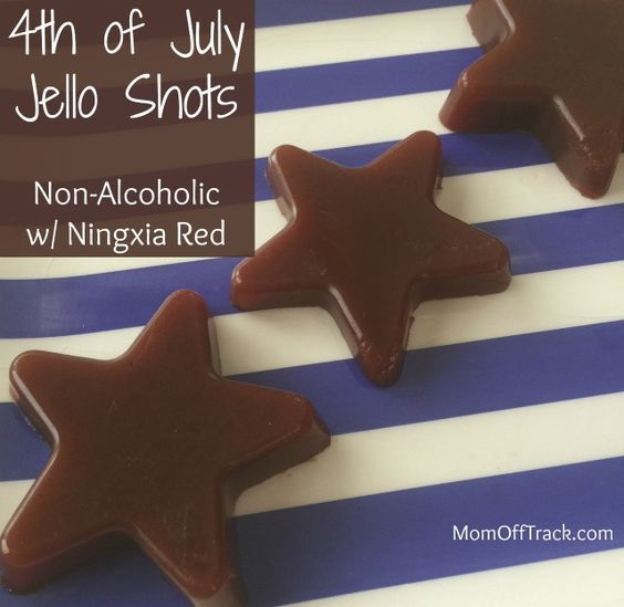 Kick off Memorial Day or 4th of July BBQs with these adorable star shaped, non alcoholic, healthy 4th of July Jello Shots made with Ningxia Red.
